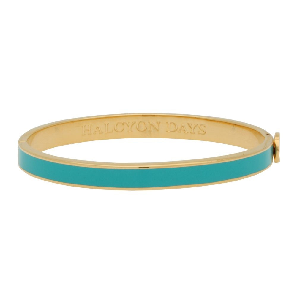 Enamel Bangle | 6mm Skinny Plain Turquoise and Gold Bangle | Halcyon Days | Made in England-Bangle-Sterling-and-Burke