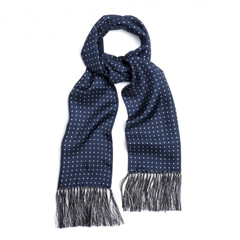 Budd Atkinson Spot Silk Scarf in Navy and White