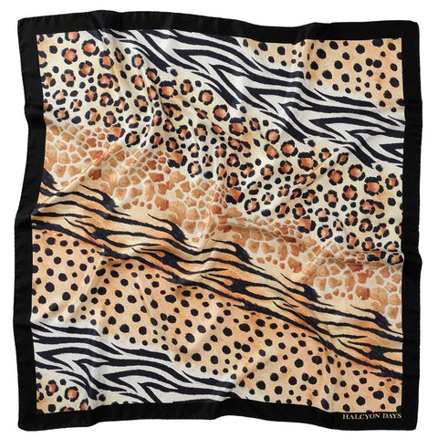 Halcyon Days Silk Shawl | Mixed Animal Print | Black | Large Silk Scarf | 48 by 48 Inches | Halcyon Days | Made in England
