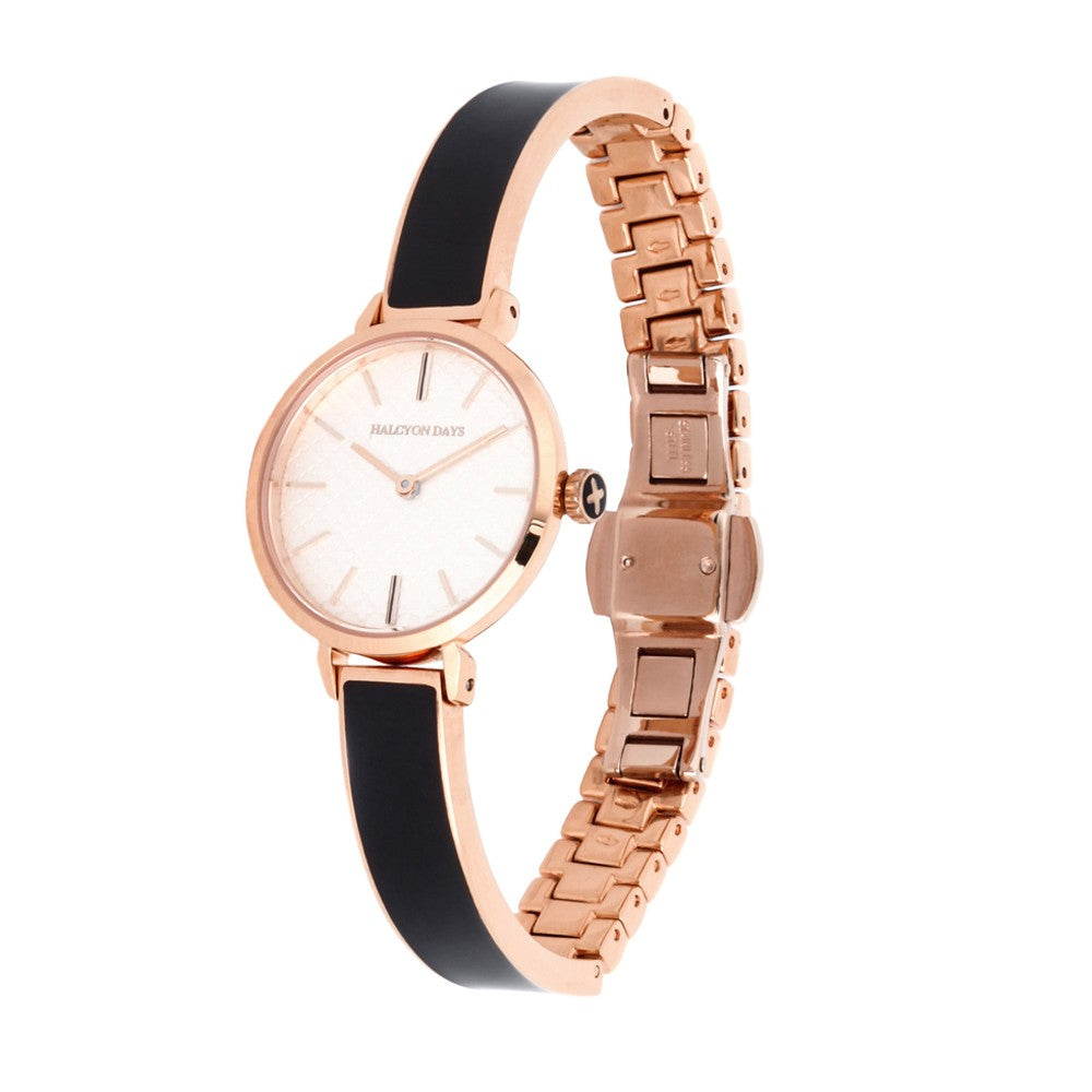 Agama Plain Bangle Strap Watch | Black and Rose Gold | Halcyon Days | Made in England-Ladies Watch-Sterling-and-Burke