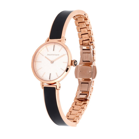 Halcyon Days Agama Plain Enamel Bangle Strap Watch in Black and Rose Gold-Jewelry-Sterling-and-Burke