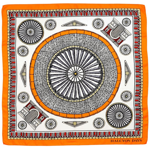 Halcyon Days Silk Scarf | Royal Albert Hall | Orange | Silk Scarf | 36 by 36 Inches | Made in England
