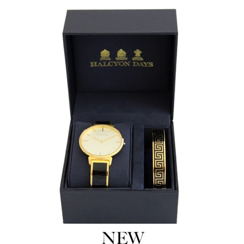 Maya Plain Bangle Strap Watch and Greek Key Bangle Set | Black and Gold | Halcyon Days | Made in England