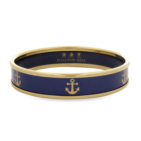 Enamel Bangle | 1cm Anchor Push Bangle | Navy and Gold | Halcyon Days | Made in England