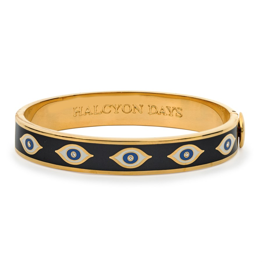Halcyon Days 1cm Evil Eye Hinged Enamel Bangle in Midnight Blue and Gold-Jewelry-Sterling-and-Burke