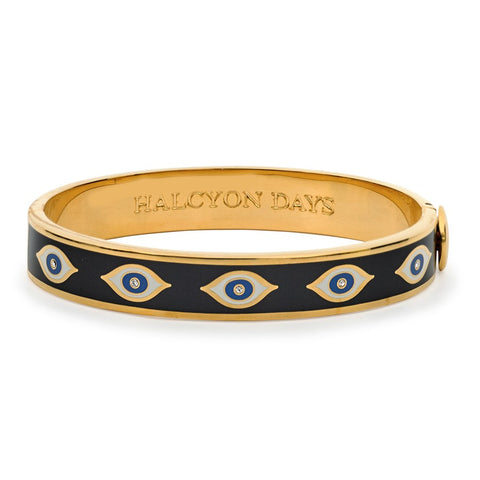 Enamel Bangle | 1cm Evil Eye Hinged Bangle | Midnight Blue and Gold | Halcyon Days | Made in England