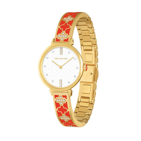 Agama Sparkle Bangle Strap Watch | Red and Gold | Halcyon Days | Made in England