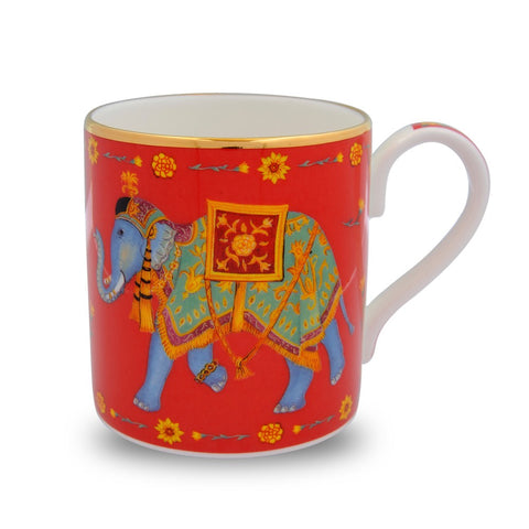 Halcyon Days Ceremonial Indian Elephant Mug in Red