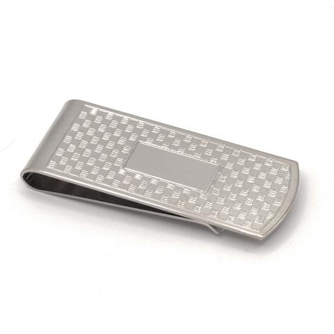 Money Clip | Silver Plate Money Clip | Basketweave Design Money Clip | 7/8 by 2 Inch | Engrave Initials | Made in USA-Money Clip-Sterling-and-Burke