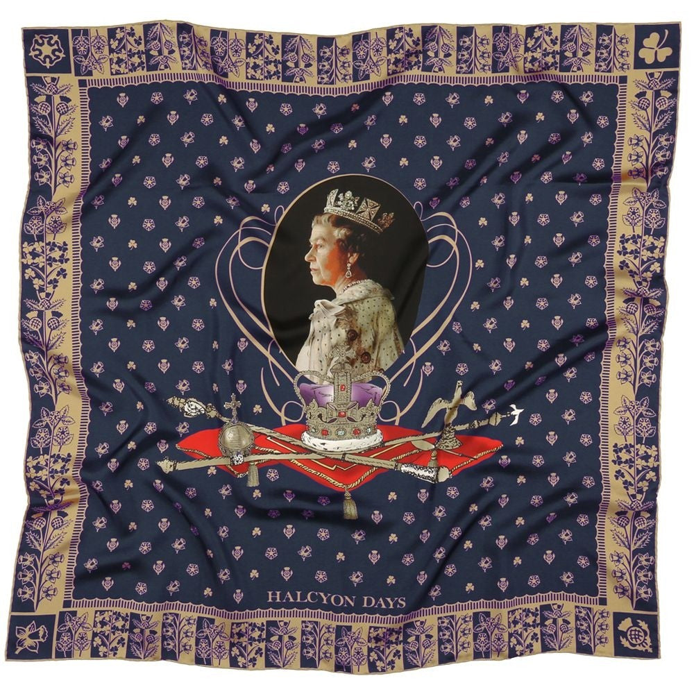 Halcyon Days Silk Scarf | 65th Anniversary Of The Queen's Coronation, Navy | Silk Scarf | 36 by 36 Inches | Made in England-Silk Scarf-Sterling-and-Burke