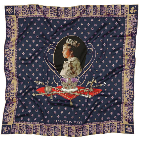 Halcyon Days Silk Scarf | 65th  Anniversary Of The Queen's Coronation, Navy | Silk Scarf | 36 by 36 Inches | Made in England
