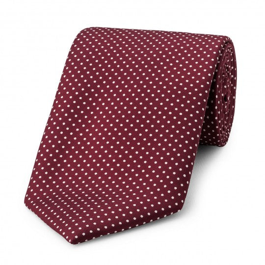 Small Spot Foulard Neck Tie | Burgundy and White Silk | Made in England by Budd Shirts-Necktie-Sterling-and-Burke
