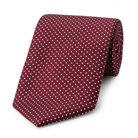 Small Spot Foulard Neck Tie | Burgundy and White Silk | Made in England by Budd Shirts