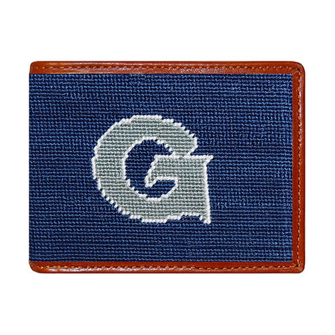 Needlepoint Collection | Georgetown University Needlepoint Bi-Fold Wallet | Hip Wallet | Hoya | Blue and Grey | Smathers and Branson