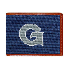 Georgetown Univ | Georgetown University | Hoya | Bull Dog Wallet | Needlepoint Bifold Hip Wallet-Wallet-Sterling-and-Burke