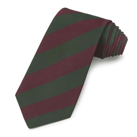 Sherwood Foresters Stripe Tie, Green and Red | Silk Tie | Benson and Clegg | Made in England