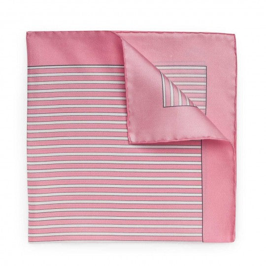 Exclusive Budd Stripe Pocket Square, Pink | Premium Silk | Budd Shirtmakers | Made in England-Pocket Square-Sterling-and-Burke