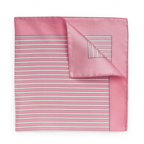 Exclusive Budd Stripe Pocket Square, Pink | Premium Silk | Budd Shirtmakers | Made in England