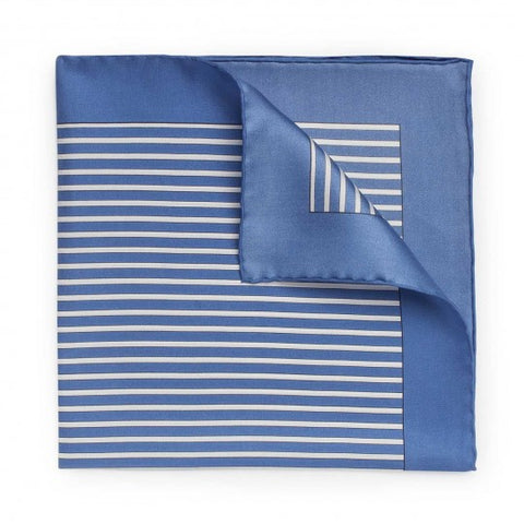 Exclusive Budd Stripe Pocket Square, Edwardian Blue | Premium Silk | Budd Shirtmakers | Made in England
