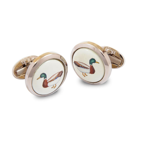 Enamel Cufflinks | Mallard Sterling Silver Cufflinks | Round Palladium | Halcyon Days | Made in England