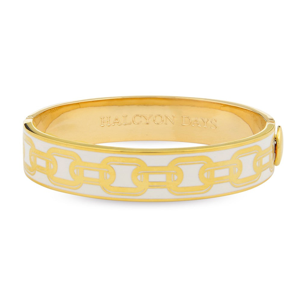 Halcyon Days 13mm Chain Hinged Enamel Bangle in Cream and Gold-Jewelry-Sterling-and-Burke