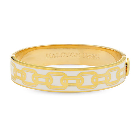 Enamel Bangle | 13mm Chain Hinged Bangle | Cream and Gold | Halcyon Days | Made in England
