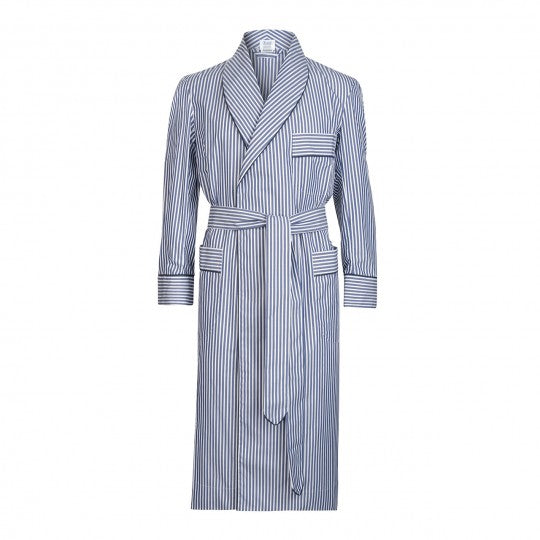 Budd Sleepwear | Exclusive Budd Stripe Cotton Dressing Gown | Navy | Budd Shirtmakers | Made in England-Dressing Gown-Sterling-and-Burke