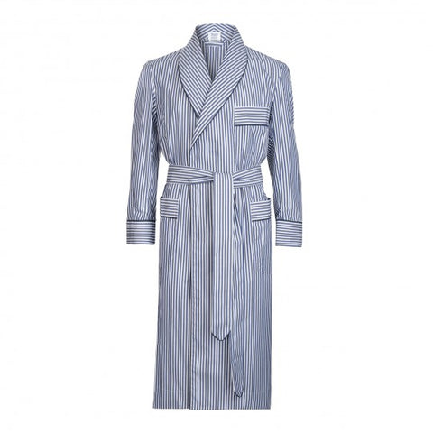 Budd Exclusive Stripe Cotton Dressing Gown in Navy