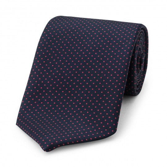 Small Spot Foulard Neck Tie | Navy and Red Silk | Made in England by Budd Shirts-Necktie-Sterling-and-Burke