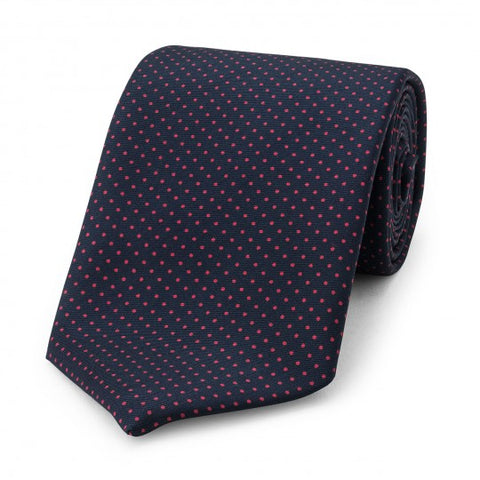 Small Spot Foulard Neck Tie | Navy and Red Silk | Made in England by Budd Shirts