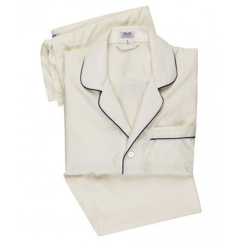 Budd Sleepwear | Poplin Pyjamas for Men | Cream and Navy | Budd Shirtmakers | Made in England