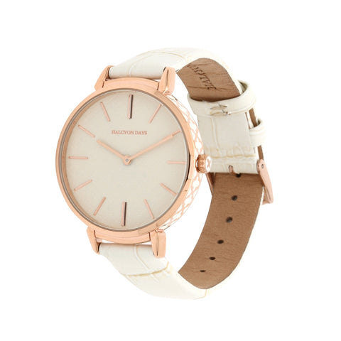 Agama Sport Watch | Cream and Rose Gold | Halcyon Days | Made in England
