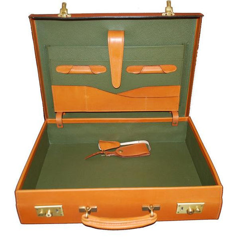 3.5 Inch Lid Over Body Attache Case, BESPOKE | Hand Stitched | English Bridle Leather | Sterling and Burke-Attache-Sterling-and-Burke