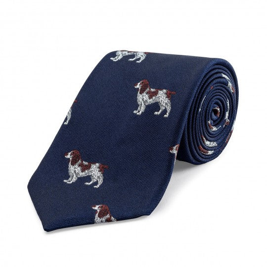 Large Spaniel Motif Silk Tie, Navy | Silk | Budd Shirtmakers | Made in England-Necktie-Sterling-and-Burke