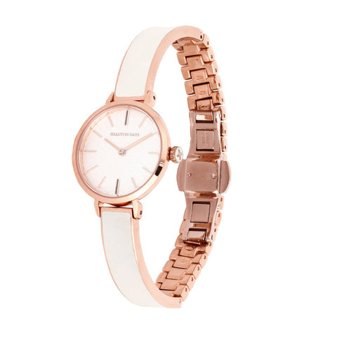 Halcyon Days Agama Plain Enamel Bangle Strap Watch in Cream and Rose Gold