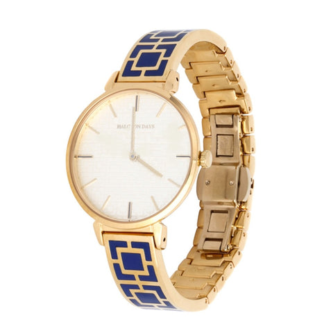 Halcyon Days Maya Enamel Bangle Strap Watch in Cobalt Blue and Gold