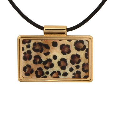 Leopard Print Frame Black and Gold Pendant Necklace | Halcyon Days | Made in England