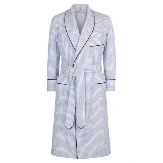 Exclusive Budd Stripe Cotton Dressing Gown, Sky | Budd Shirtmakers | Made in England-Dressing Gown-Sterling-and-Burke