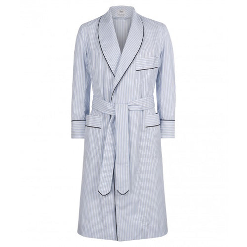Budd Exclusive Stripe Cotton Dressing Gown in Sky Blue-Dressing Gown-Sterling-and-Burke