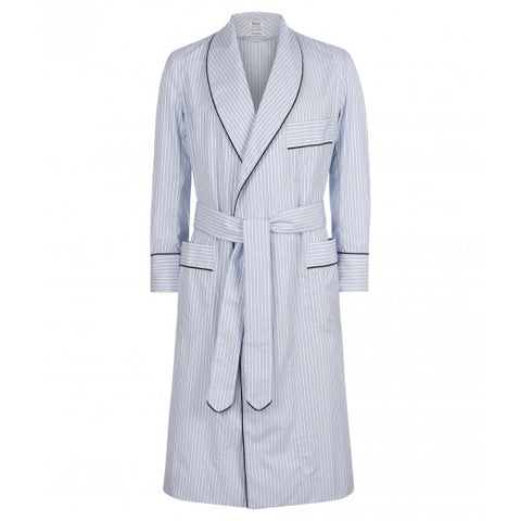 Budd Exclusive Stripe Cotton Dressing Gown in Sky Blue