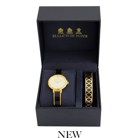 Agama Plain Bangle Strap Ladies Watch and Agama Bangle Set | Black Enamel on Gold | Halcyon Days | Made in England