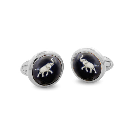 Enamel Cufflinks | Grey Elephant Cufflinks | Round Palladium | Halcyon Days | Made in England-Enamel Cufflinks-Sterling-and-Burke