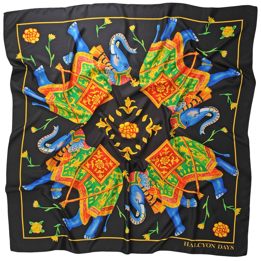 Halcyon Days Silk Shawl | Elephant Array, Black | Large Silk Scarf | 48 by 48 Inches | Made in England-Shawl-Sterling-and-Burke