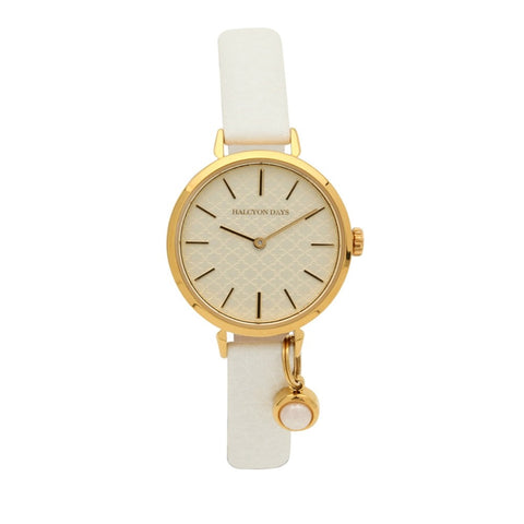 Agama Strap Pearl Charm Watch, Cream & Gold | Halcyon Days | Made in England-Ladies Watch-Sterling-and-Burke