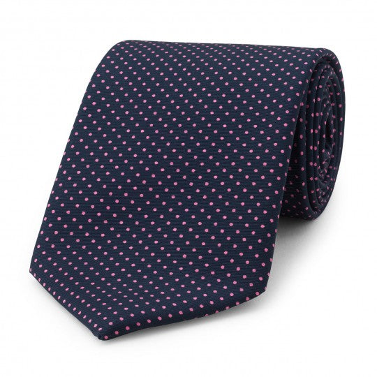 Budd Small Spot Foulard Silk Tie in Navy & Pink-Necktie-Sterling-and-Burke