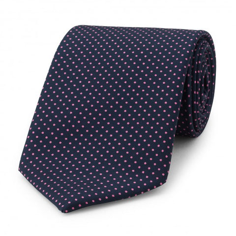 Small Spot Foulard Neck Tie | Navy and Pink Silk | Made in England by Budd Shirts-Necktie-Sterling-and-Burke