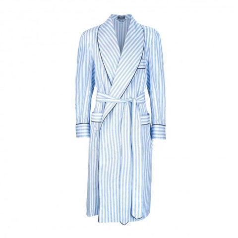 Budd Sleepwear | Fine Stripe Superpoplin Dressing Gown | Blue | Budd Shirtmakers | Made in England
