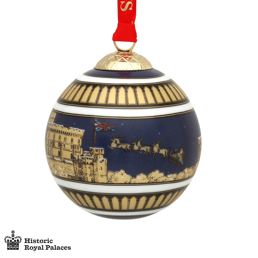 Halcyon Days Windsor Castle by Night Christmas Bauble-Ornament-Sterling-and-Burke