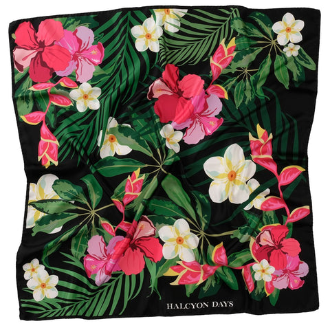 Halcyon Days Silk Scarf | Tropical Flower | Black | Silk Scarf | 36 by 36 Inches | Made in England