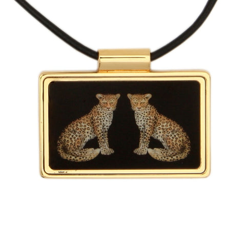 Twin Leopards Print Frame Black and Gold Pendant Necklace | Halcyon Days | Made in England